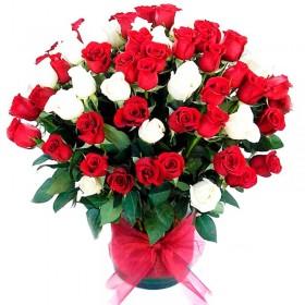 Florero 60 Rosas Rojas y Blancas