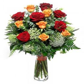 Florero 12 Rosas Rojas y Amarillas