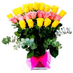 Florero 24 Rosas Rosas y amarillas