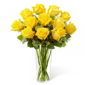 Florero 12 Rosas Amarillas