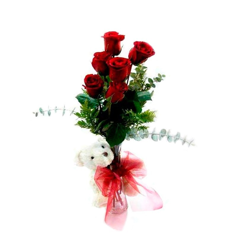 Florero 6 Rosas Rojas + Peluche