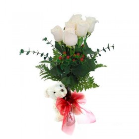 Florero 6 Rosas Blancas + Peluche