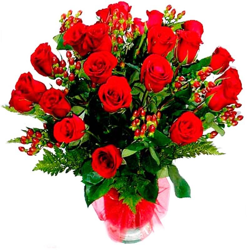 Florero 24 Rosas Rojas con Hipéricos