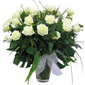 Florero 24 Rosas Blancas