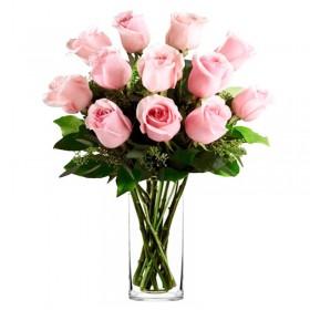 Florero 12 Rosas Rosa