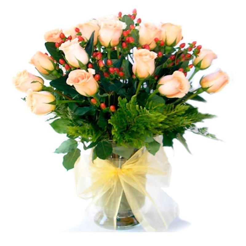 Florero 24 Rosas Damasco + Hipericos