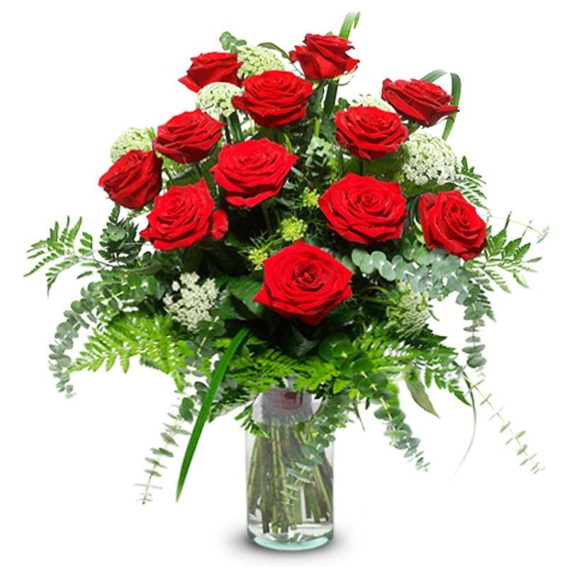 Florero 12 Rosas Rojas