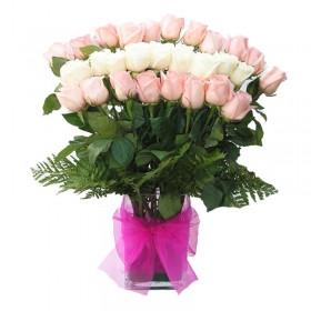 Florero 24 Rosas Rosas y Blancas