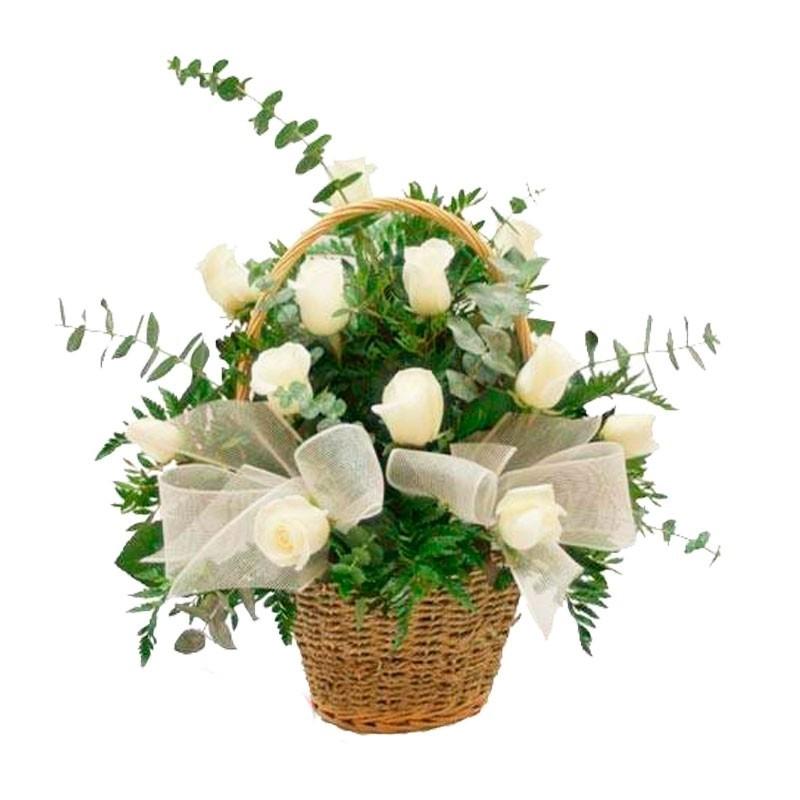 Flores Condolencias Rosas en Canastillo