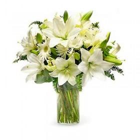 Florero Condolencia Lilium Blanco
