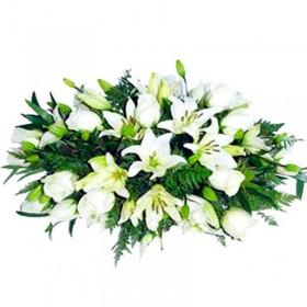 Flores Condolencias Cojin Rosas y Lilium
