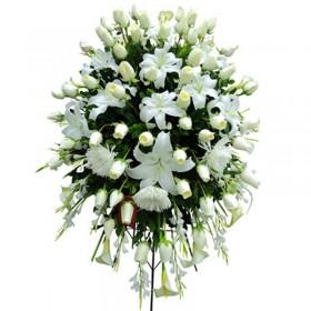 Flores Grandes Condolencias con Rosas Blancas