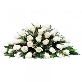 Flores Condolencias Ovalo de Rosas Blancas