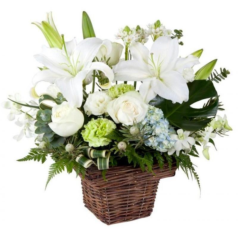 Flores para Condolencias Mini con Liliums y Rosas Blancas