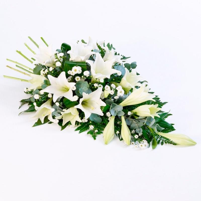 Flores Condolencias Cubre Urna de 15 Liliums Blancos
