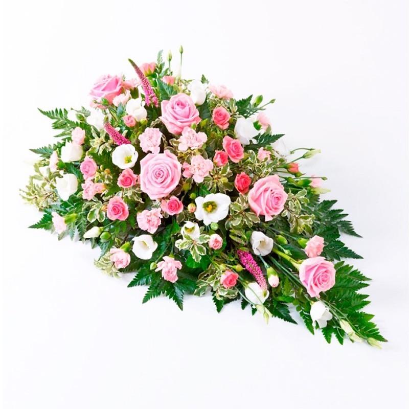 Flores Condolencias Cubre Urna Mix con 6 Rosas Rosadas