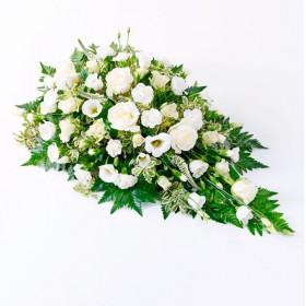 Flores Condolencias Cubre Urna Mix Blancos y 6 Rosas