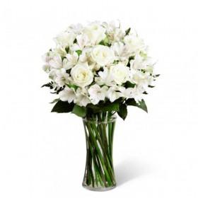 Flores Condolencias Florero Astromelias y 8 Rosas Blancas