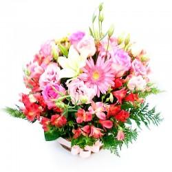 Cesta Celebración Flores Rosas