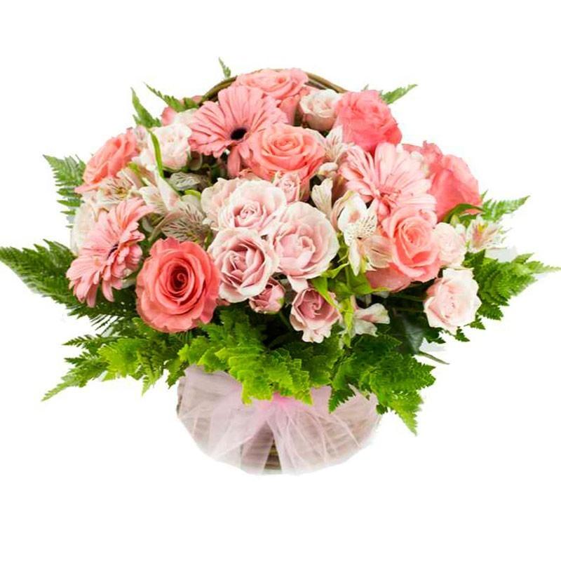 Cesta de Flores Tonos Rosas para Regalar