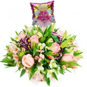 Cesta de Flores con Rosas Rosadas Liliums y Astromelias más Globo es una Niña