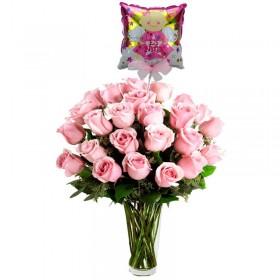 Florero de Nacimiento con 24 Rosas Rosadas para Nacimiento con Globo es una Niña