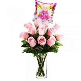 Florero de Nacimiento Niña 12 Rosas Rosadas con Globo