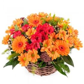 Cesta Mix de Flores tonos Naranja