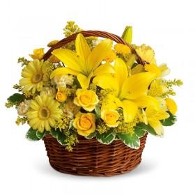 Cesta tonos Amarillos 12 Rosas y Liliums