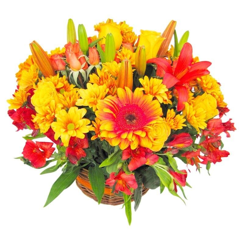 Cesta Grande con Flores de Tonos Naranjo