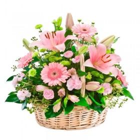 Cesta de Flores Grande con Liliums y Gerberas Rosadas