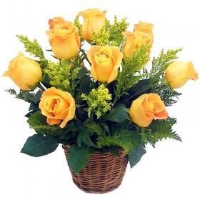 Cesta 12 Rosas Amarillas Importadas