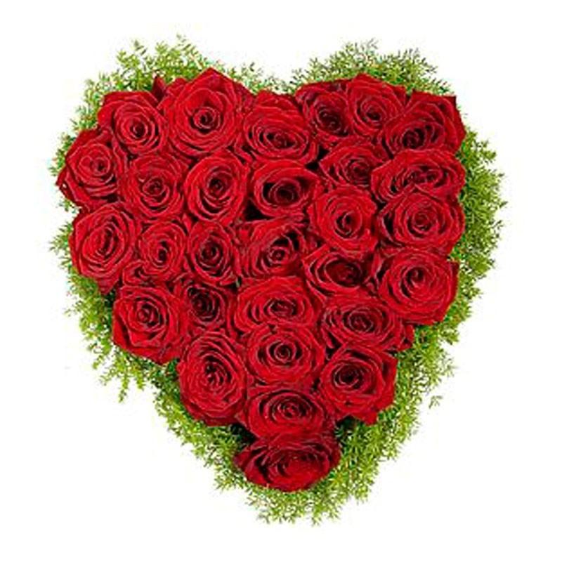 Rosas Canastillo Corazon Rojo