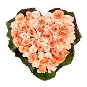 Rosas Canastillo Corazon Rosa