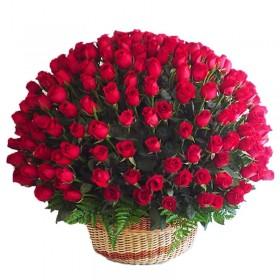 Cesta Gigante 100 Rosas Rojas
