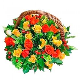 Cesta 24 Rosas Amarillas y Rojas