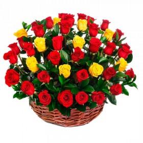 Cesta Redonda con 40 Rosas Amarillas y Rojas