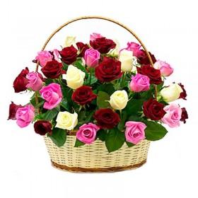 Cesta Redonda Tricolor 30 Rosas Blancas y Rosadas