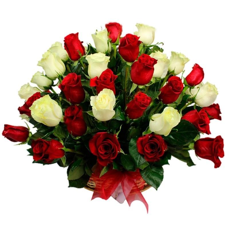 Cesta 40 Rosas Rojas y Blancas