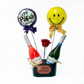 Cubeta con 2 Espumantes Brut y Rose más 2 Globos y 1 Rosa Para el día del Padre