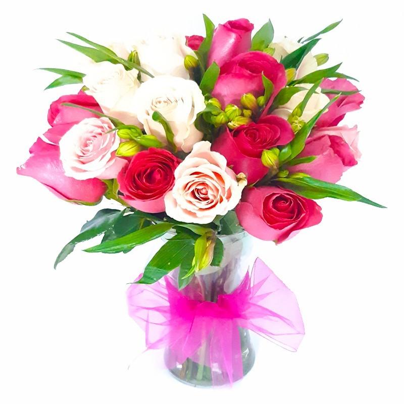 Florero 12 Rosas Mix Rosadas