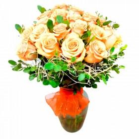 Florero con 12 Rosas Color Damasco