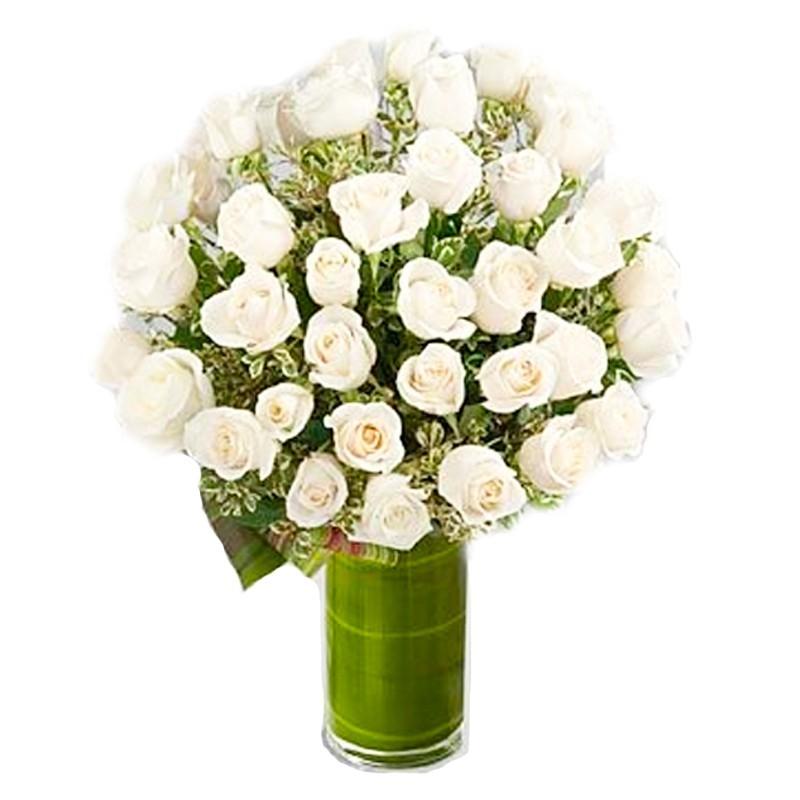 Florero 40 Rosas Blancas