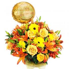 Flores para Aniversario Garberas liliums Rosas y Globo