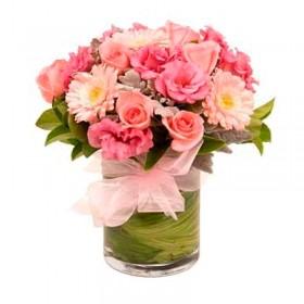 Florero Flores tonos Rosa