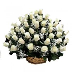 Flores Condolencias con 50 Rosas Blancas