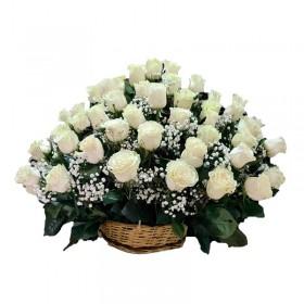 Flores Condolencias con 40 Rosas Blancas