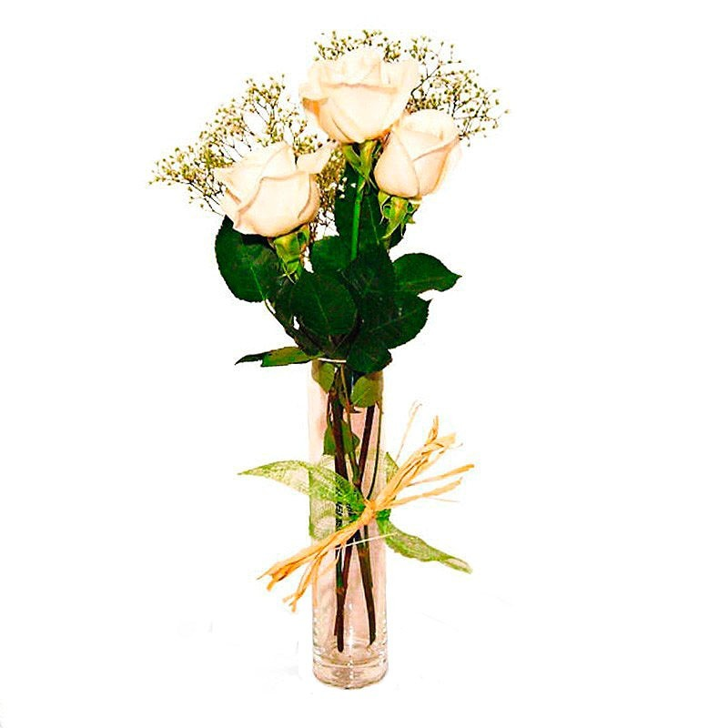 Flores Condolencias Florero Presencia 3 Rosas Blancas