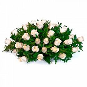 Flores Condolencias Ovalo de 35 Rosas Claras