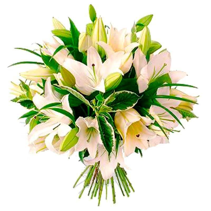 Flores Condolencias Ramo Liliums Blancos